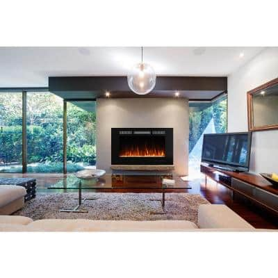 36.02 in. Recessed Wall Mounted Electric Fireplace in Black