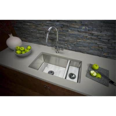 Crosstown Undermount Stainless Steel 33 in. Double Bowl Kitchen Sink