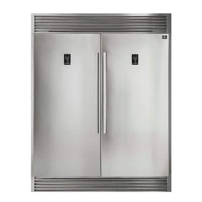 60 in. W 27.6 cu. ft. Free Standing Side by Side Style 2-Doors Refrigerator and Freezer in Stainless Steel