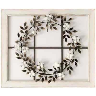 Cotton Wreath White Wood Framed Wall Art