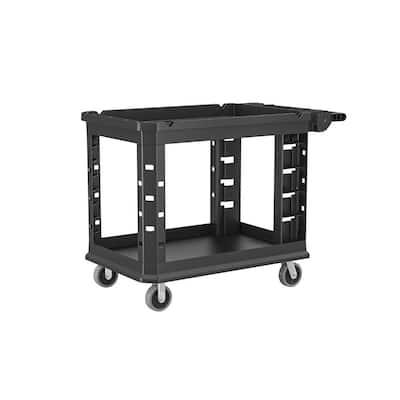Standard Duty 26.6 in. 2-Shelf Utility Cart in Black