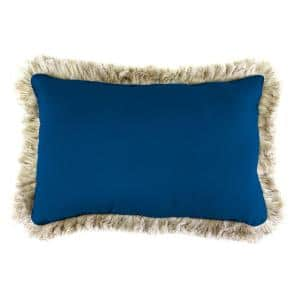 Sunbrella 19 in. x 12 in. Canvas Navy Lumbar Outdoor Throw Pillow with Canvas Fringe