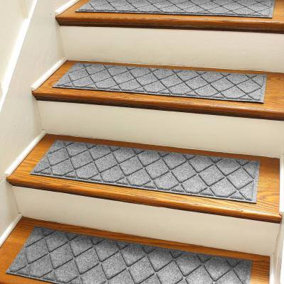 Argyle 8.5 in. x 30 in Stair Treads (Set of 4) Medium Gray