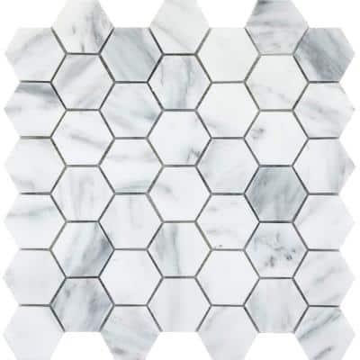 Marble Winter Frost Polished 12.01 in. x 12.01 in. x 10 mm Marble Mesh-Mounted Mosaic Tile (0.98 sq. ft.)