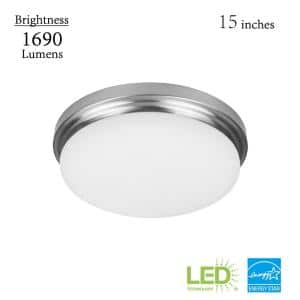 Chilton 15 in. 170-Watt Equivalent Brushed Nickel Selectable Integrated LED Flush Mount with Glass Shade