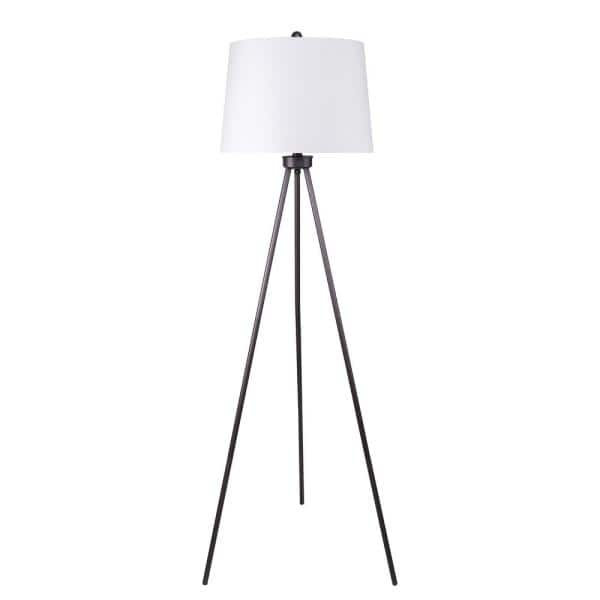 Modern Brushed Chrome Metal Tripod Floor Lamp with a Grey /& Gold Cylinder Shade
