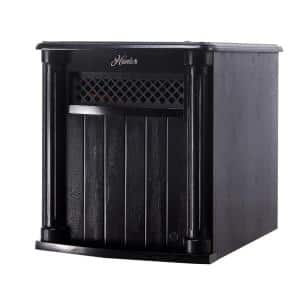 6 Quartz Element Solid Wood Cabinet Infrared Portable Heater with Remote Control in Black