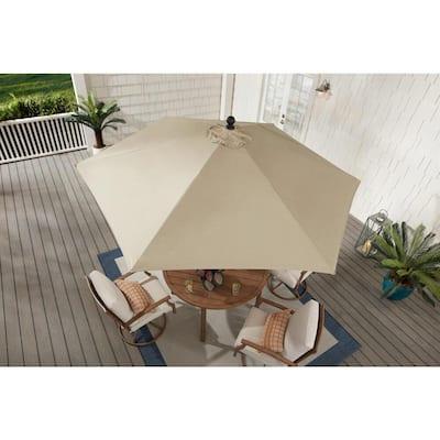 9 ft. Aluminum Market Auto Tilt Patio Umbrella in Sand