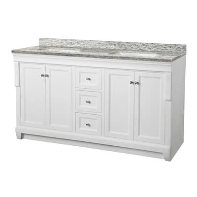 Naples 61 in. W x 22 in. D Vanity in White with Granite Vanity Top in Santa Cecilia with White Sink