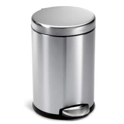 4.5-Liter Fingerprint-Proof Brushed Stainless Steel Round Step-On Trash Can