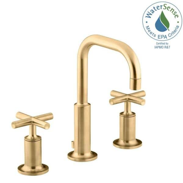 KOHLER - Purist 8 in. Widespread 2-Handle Mid-Arc Bathroom Faucet in Vibrant Modern Brushed Gold