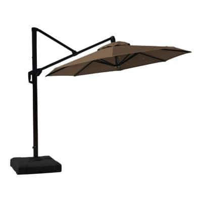 10 ft. Aluminum Round Tilt Patio Umbrella in Chestnut Brown