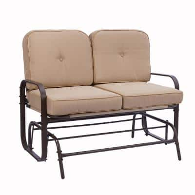 Metal Rocking Bench Outdoor Loveseat with Beige Cushions