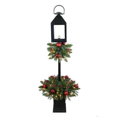 4 ft Spruce Potted Pre-Lit LED Artificial Tree Lantern with 50 Warm White LED Lights, Shatterproof Ornaments and Berries