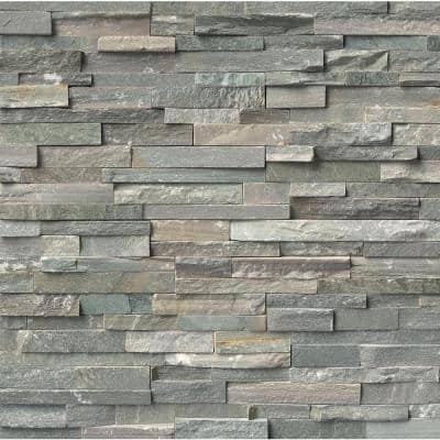 Take Home Tile Sample - Sierra Blue Ledger Panel 6 in. x 6 in. Natural Quartzite Wall Tile - 6 in. x 6 in