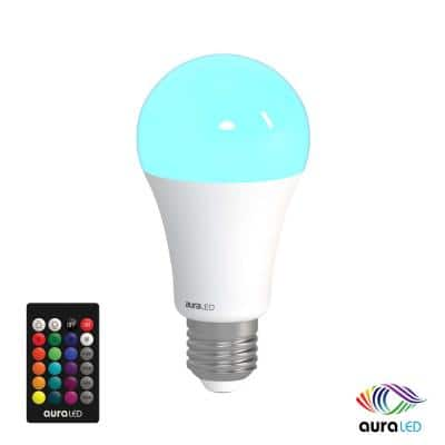 60-Watt Equivalent A19 Standard Size Dimmable with Remote Aura LED Light Bulb Multi-Color (1-Bulb)
