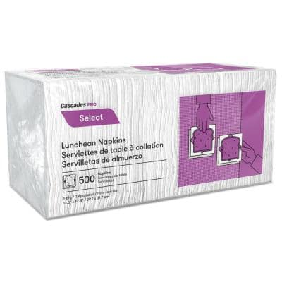 Select Luncheon Napkins, 1 Ply, 11 1/4 in. x 12 1/2 in., White, 500/Pack, 12 Packs/Carton