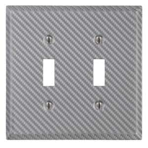 Branston 2 Gang Toggle Steel Wall Plate - Silver
