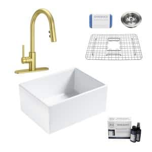 Wilcox II All-in-One Fireclay 24 in. Single Bowl Farmhouse Apron Kitchen Sink with Pfister Stellen Faucet in Satin Gold