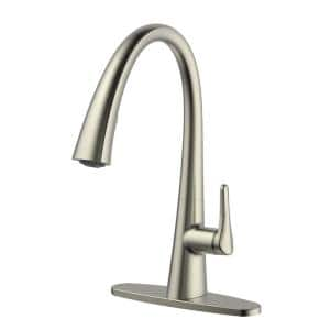 Chesapeake Single-Handle Pull-Down Sprayer Kitchen Faucet with Optional Deck Plate in Brushed Nickel