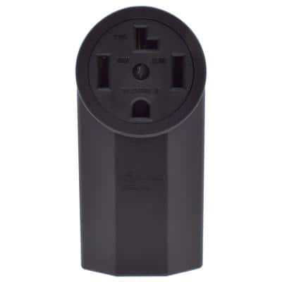 50 Amp 250V, NEMA 10-50R Surface Mount Power Outlet, Single Straight Blade Range & Dryer Outlet Non-Grounding, Black