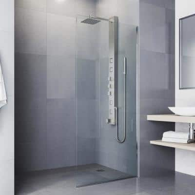 Bowery 58 in. x 5 in. 4-Jet High Pressure Shower Panel System with Square Rainhead and Tub Filler in Stainless Steel