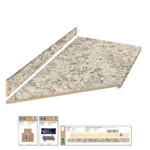8 ft. Gray Laminate Countertop Kit With Left Miter and Eased Edge in Typhoon Ice Quarry