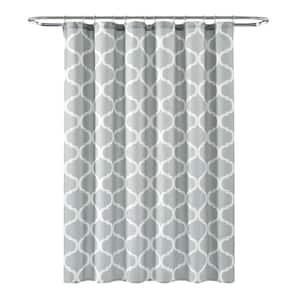 72 in. x 72 in. Light Gray Single Geo Shower Curtain