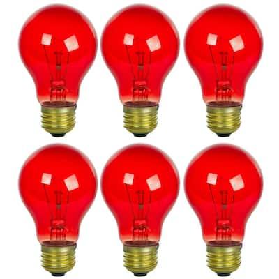 25-Watt A19 Edison Transparent Red E26 Base Incandescent Light Bulb (6-Pack)