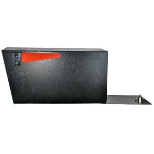 Mail Manager Street Safe Black Post-Mount Mailbox with High Security Reinforced Rear Locking System