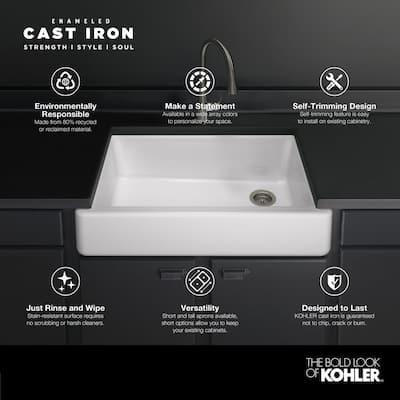 Whitehaven Farmhouse Apron Front Self-Trimming Cast Iron 36 in. Single Bowl Kitchen Sink in White