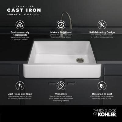 Whitehaven Farmhouse Undermount Self-Trimming Apron Front Cast Iron 36 in. Single Bowl Kitchen Sink in White