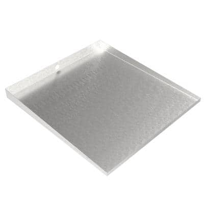 Front-Load Washer Floor Tray with Drain - 32 in. x 30 in. - Steel-Faux Stainless