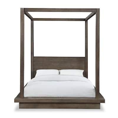 Melbourne Light Wood Dark Pine King Canopy Bed with Platform Bed Mattress Support