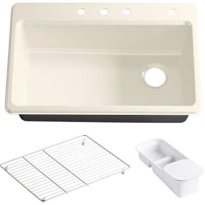 Riverby Drop-In Cast Iron 33 in. 4-Hole Single Bowl Kitchen Sink Kit with Accessories in Almond