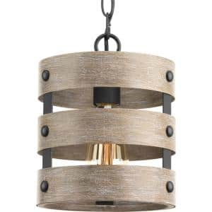 Gulliver 1-Light Graphite Drum Pendant with Weathered Gray Wood Accents