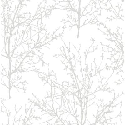 Tree Branches Pearl Gray Botanical Vinyl Peel & Stick Wallpaper Roll (Covers 30.75 Sq. Ft.)