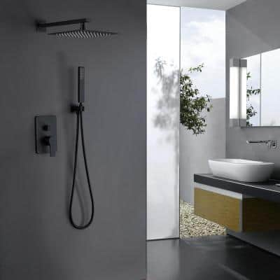 Single-Handle 1-Spray Square Shower Faucet in Matte Black (Valve Included)