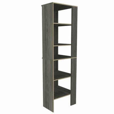 Style+ 25 in. W Coastal Teak Corner Wood Closet Tower
