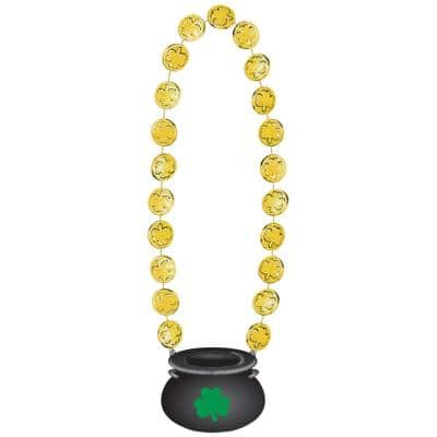 Plastic Pot of Gold Pendant St. Patrick's Day Beaded Necklaces (3-Pack)