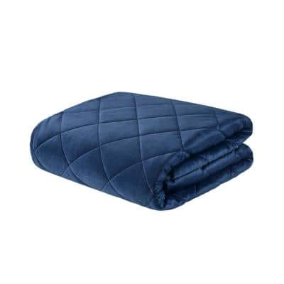 Luxury Indigo Quilted Mink 60 in. x 70 in. 18 lbs. Weighted Blanket