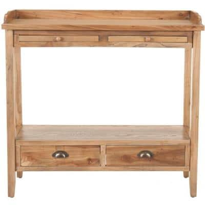 Peter 36 in. Oak Standard Rectangle Wood Console Table with Drawers