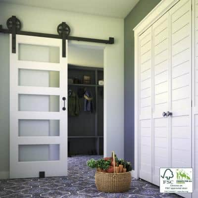 32 in. x 84 in. 5 Frosted Glass Solid Core White Finished Interior Barn Door Slab