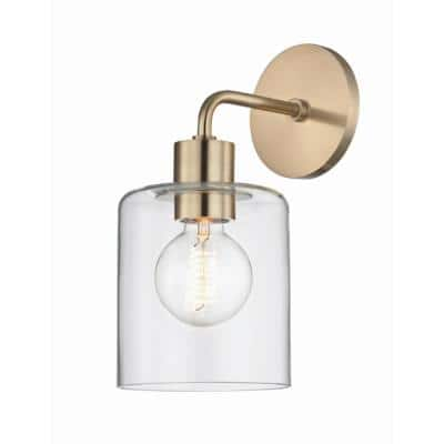 Noah 1-Light Aged Brass Wall Sconce with Clear Glass