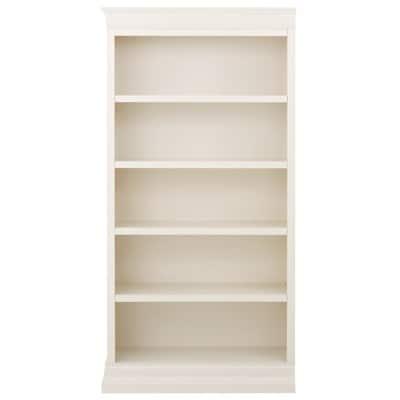 73 in. Polar White Wood 5-shelf Standard Bookcase with Adjustable Shelves