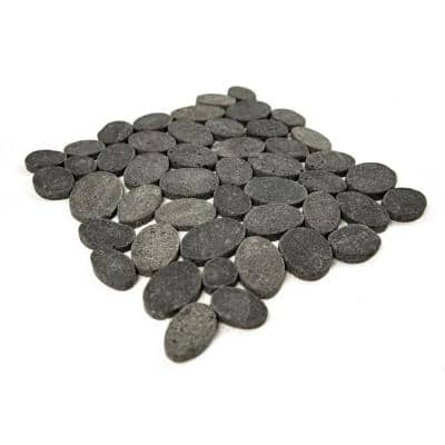 Pebble Marble Tile Black 11-1/2 in x 11-1/2 in x 9.5mm Mesh-Mounted Mosaic Tile (10.12 sq. ft. / case)
