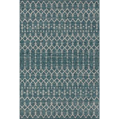 Ourika Teal/Gray 9 ft. x 12 ft. Moroccan Geometric Textured Weave Indoor/Outdoor Area Rug