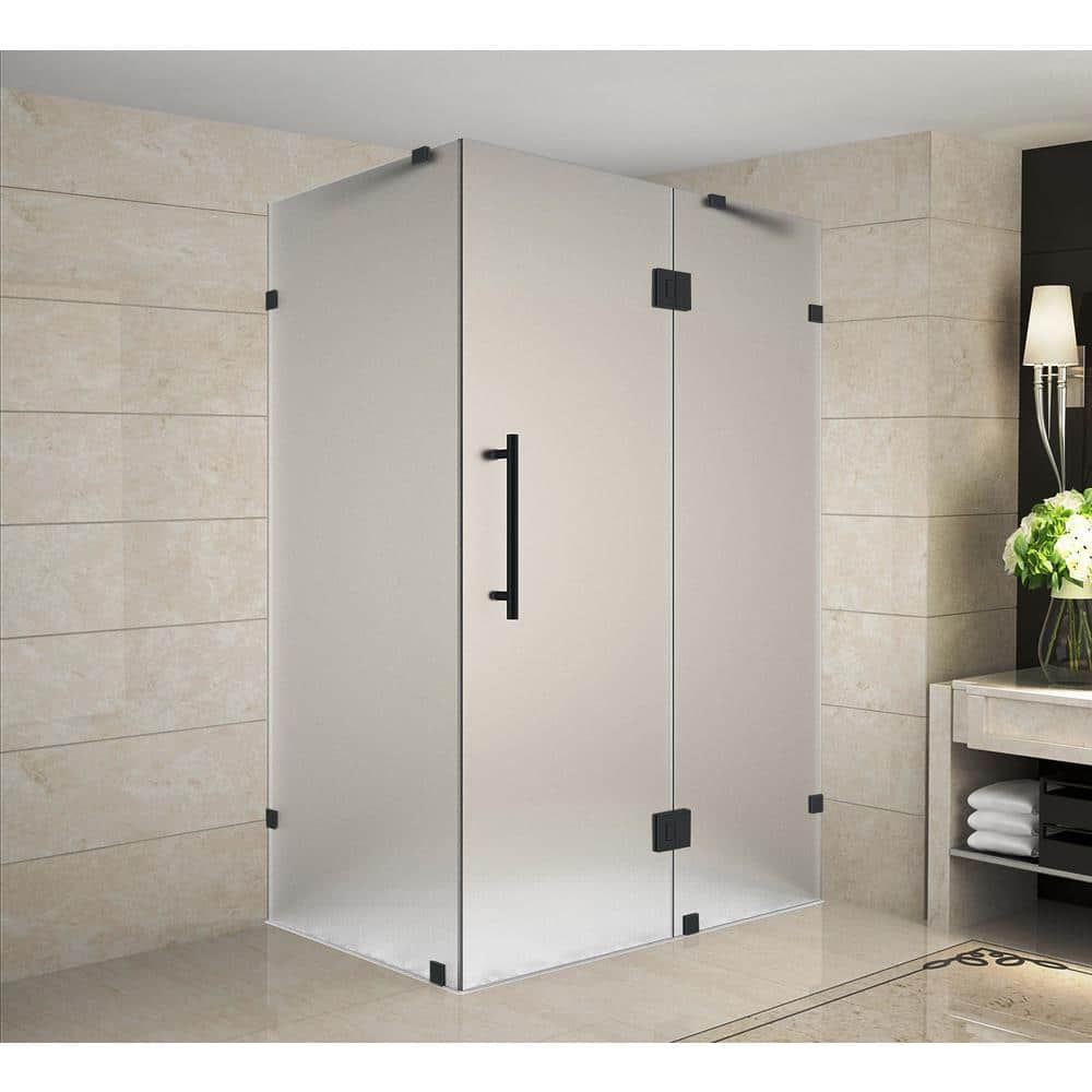 Aston Avalux 37 In X 30 In X 72 In Frameless Corner Hinged Shower Door With Frosted Glass In Matte Black Sen987f Mb 3730 10 The Home Depot