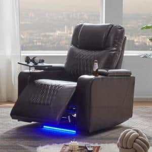 Brown PU Power Motion Home Theater Recliner with USB Charging Port and 360° Swivel Tray Table