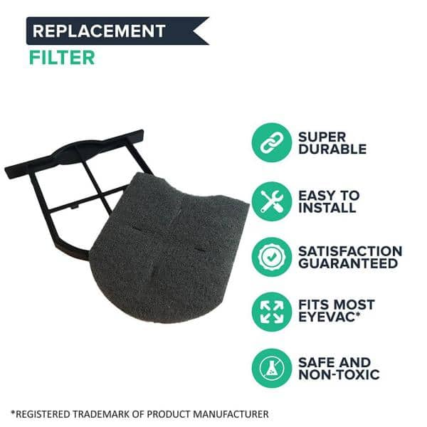 Think Crucial Replacement Eye Vac Exhaust Filter Fits Eye Vac Professional Units Washable And Reusable Compatible To Part Ev Ef Ev Ef The Home Depot